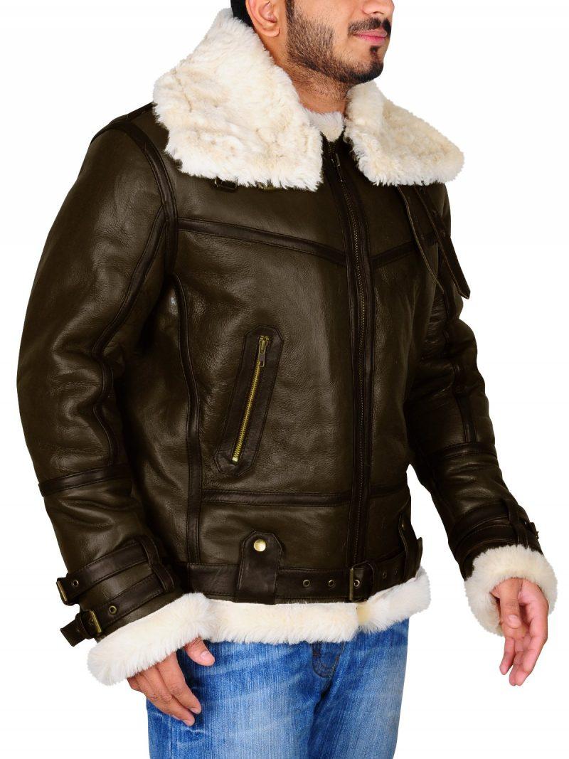 Men Aviator Shearling Bomber Leather Jacket