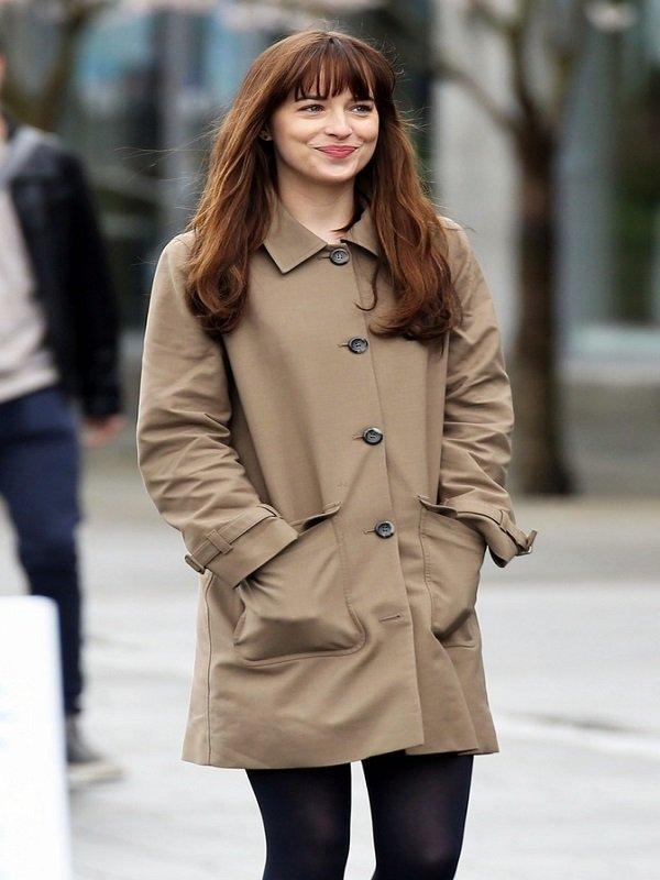 Dakota Johnson Fifty Shades Darker Stylish Beige Coat