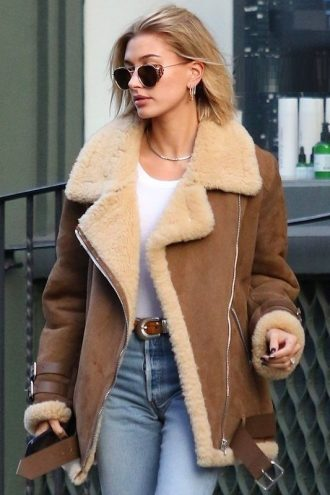 Hailey Baldwin Shearling Brown Suede Leather Jacket