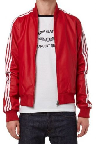 Rapper Pharrell Williams Stripes Leather Jacket