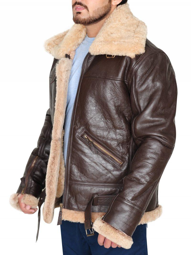 Mens Aviator RAF B3 Real Shearling Leather Jacket