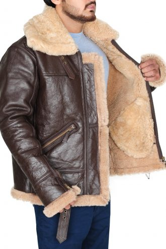 B3 Real Shearling Sheepskin Leather Jacket