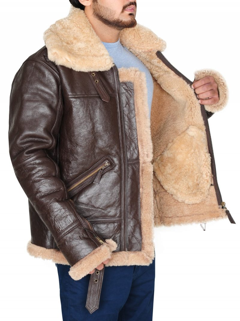 B3 Real Shearling Sheepskin Leather Jacket