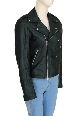 Rihanna Edgy Look Green Biker Leather Jacket
