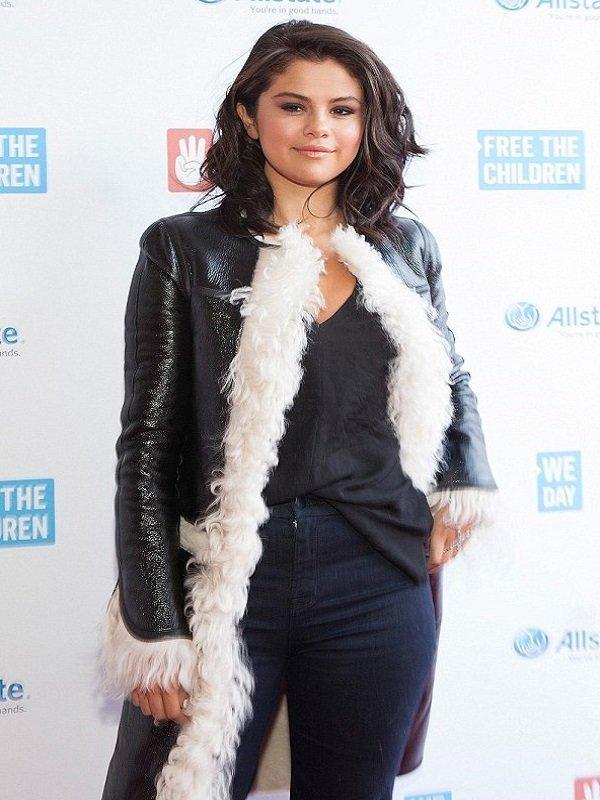 Pretty Selena Gomez Fur Coat