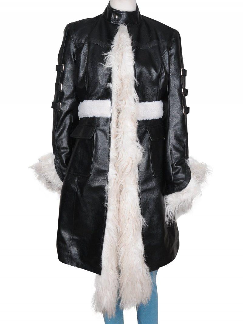 Selena Gomez Fur Long Coat