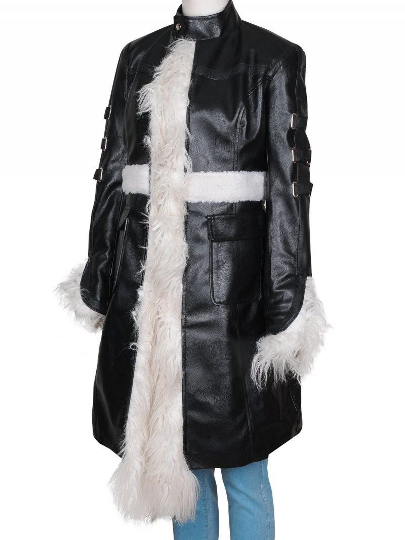 Selena Gomez Fur Leather Coat