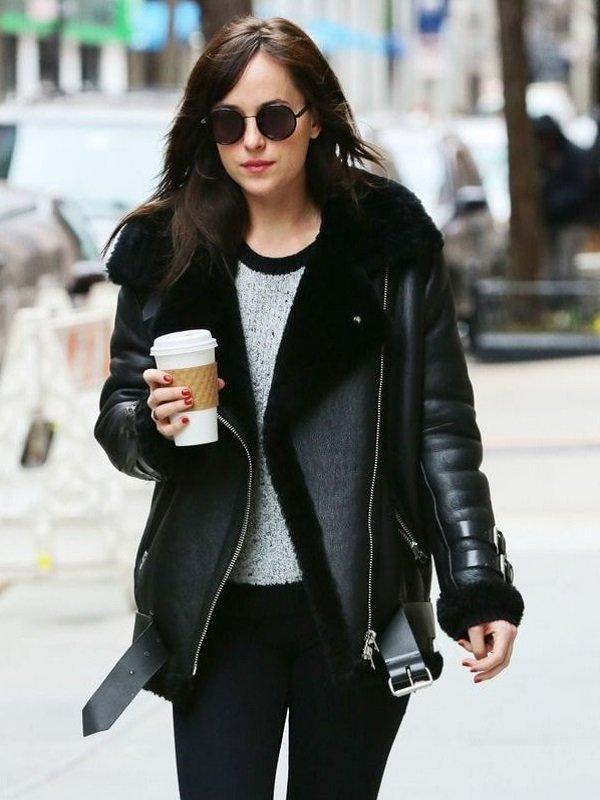 Dakota Johnson Fur Leather Jacket