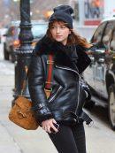 American Actress Dakota Johnson Shearling Leather Black Jacket
