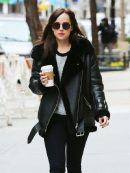American Actress Dakota Johnson Shearling Black Jacket