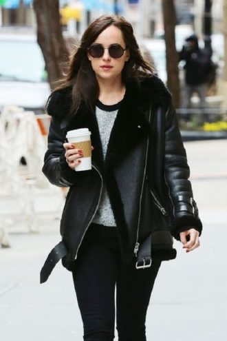 American Actress Dakota Johnson Shearling Black Jacket