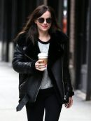 American Actress Dakota Johnson Shearling Leather Jacket