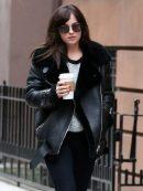 Elegant Dakota Johnson Shearling Black Jacket