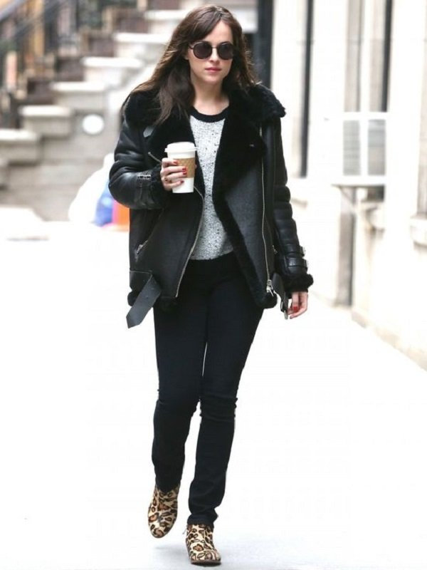 Elegant Dakota Johnson Shearling Jacket