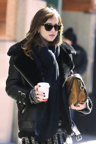 Elegant Dakota Johnson Shearling Leather Jacket