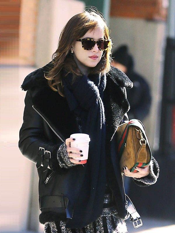 Elegant Dakota Johnson Shearling Leather Jacket