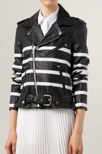 Women Striped Motorcycle Jacket