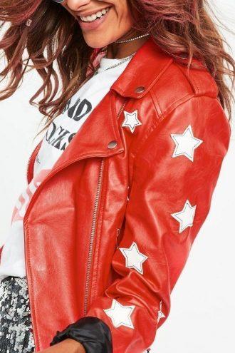 WWE Carmella Stylish Red Leather Jacket