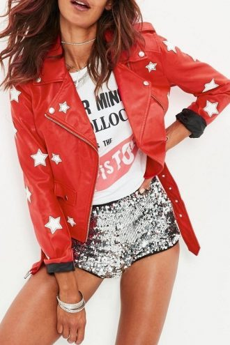 WWE Carmella Red Biker Leather Jacket
