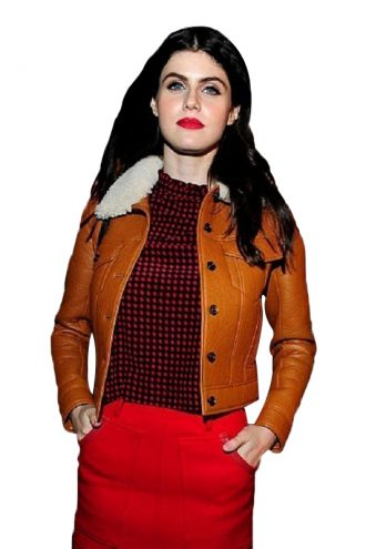 Alexandra-Daddario-Brown-Leather-Jacket