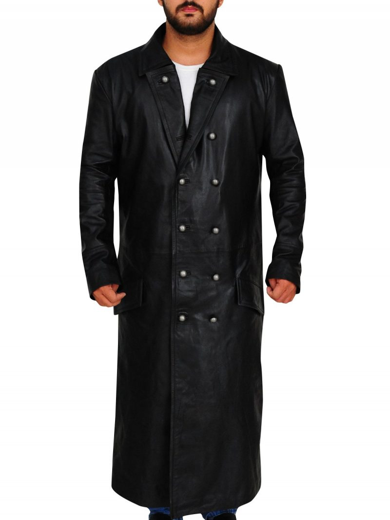 German Classic Officer Leather Trench Coat