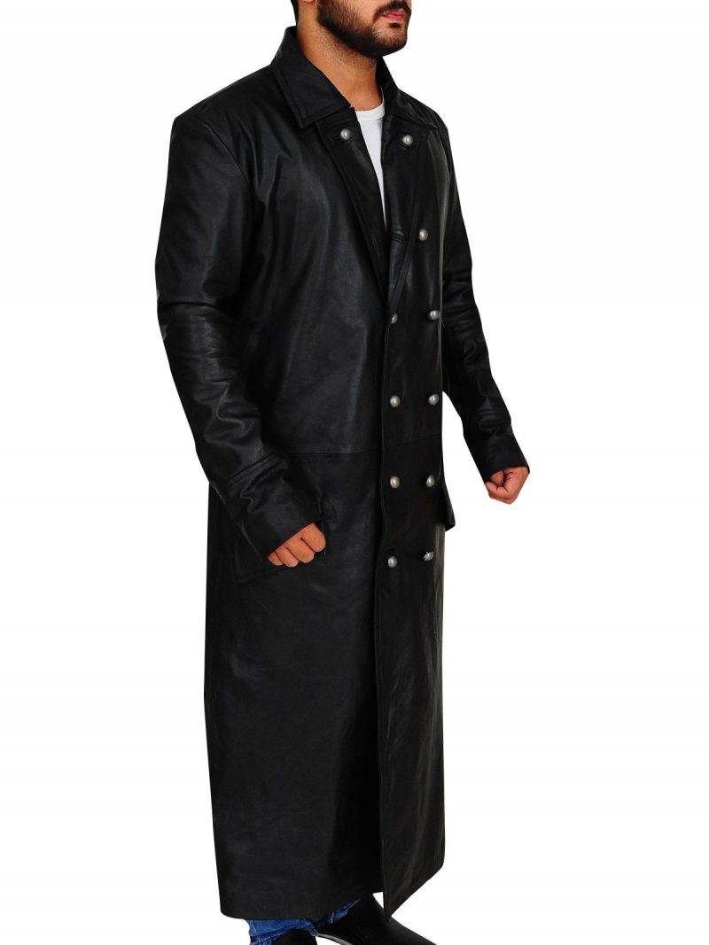 German Classic Officer Black Leather Coat