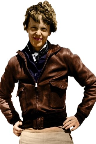 Amelia-Earhart-Brown-Bomber-Leather-Jacket