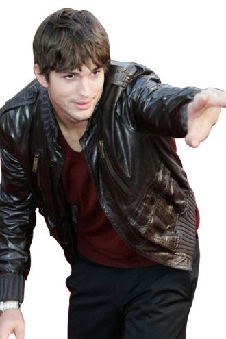 Ashton Kutcher Bomber Leather Jacket