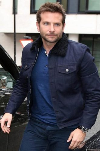 Burnt Bradley Cooper Jacket With Fur Collar