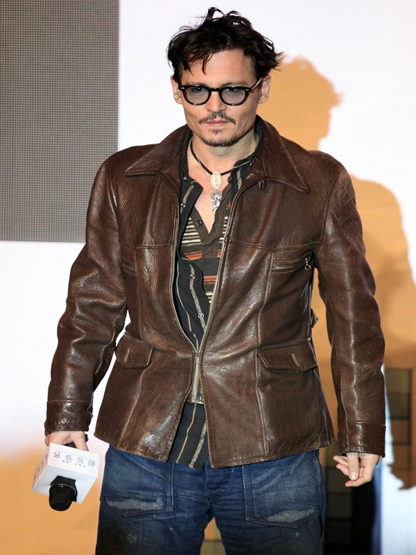 American Actor Johnny Depp Brown Leather Jacket