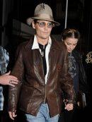 American Actor Johnny Depp Brown Jacket
