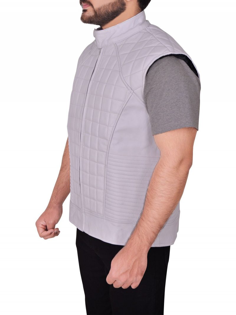 Justin Bieber Quilted Stylish Design White Leather Vest