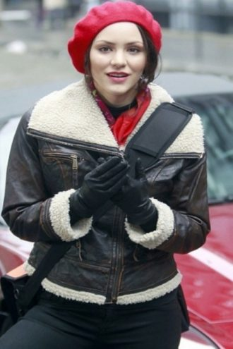 Katharine McPhee Smash Shearling Leather Jacket