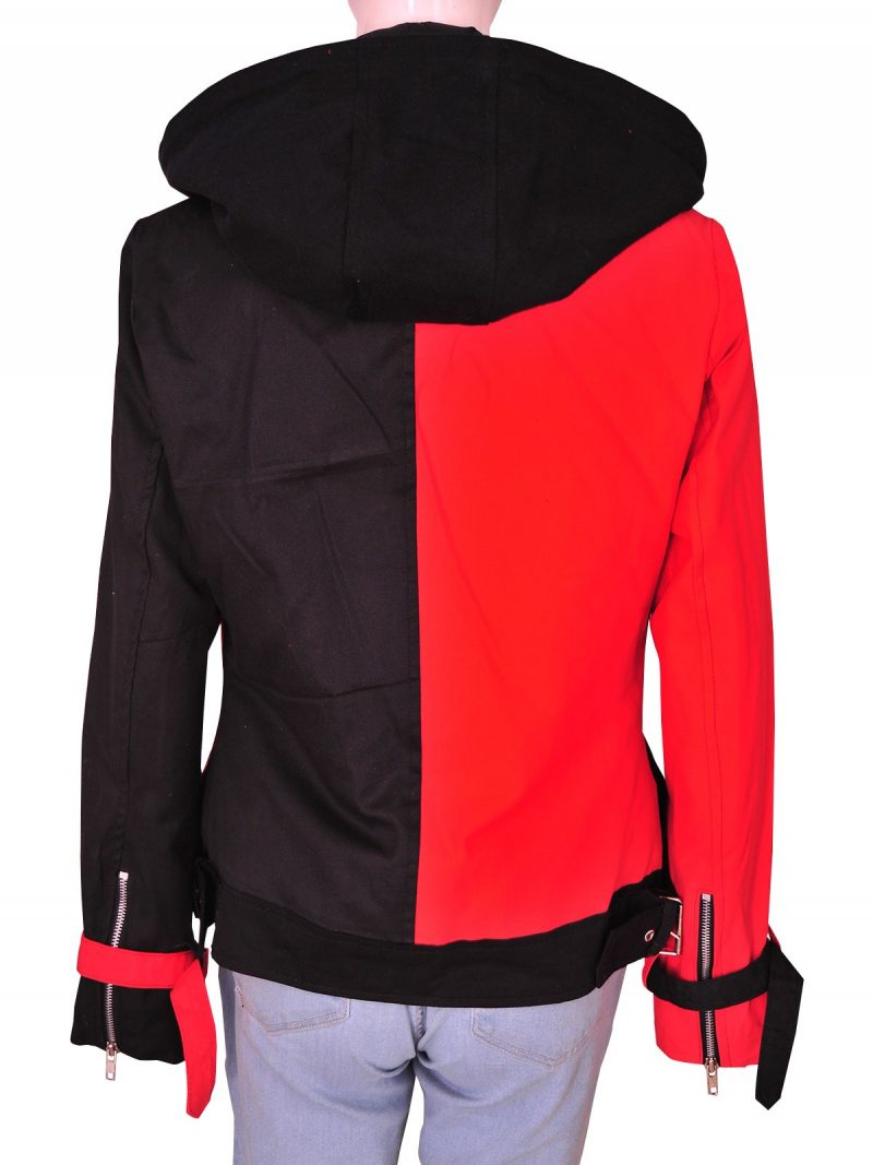 Harley Quinn Suicide Squad Black Red Cotton Hoodie Jacket