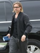 Brad Pitt Stylish Bomber Black Jacket