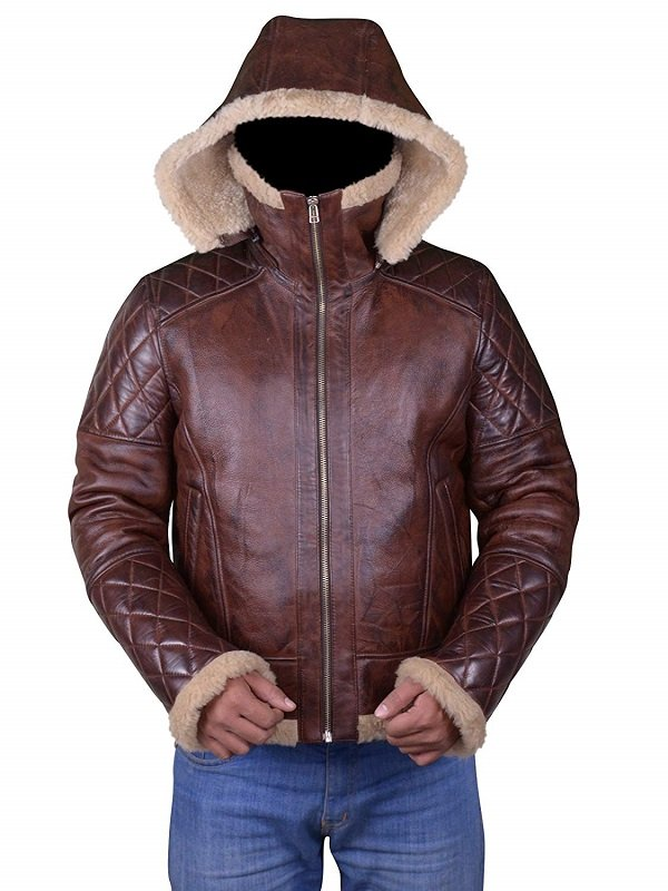 Diamond Quilted Design Shearling Leather Jacket