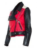Demi Lovato Stylish Red Black Leather Jacket