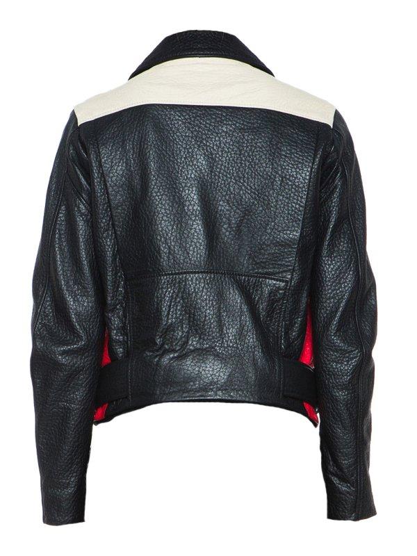 Singer Demi Lovato Red Black Leather Jacket