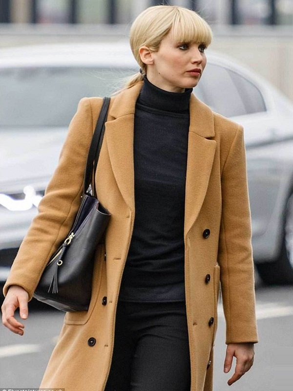 Red Sparrow Jennifer Lawrence Double Breasted Long Coat