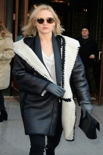 Elegant Jennifer Lawrence Leather Coat