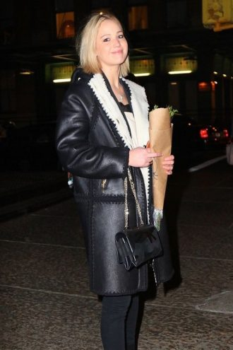 Jennifer Lawrence Night Out in New York Coat