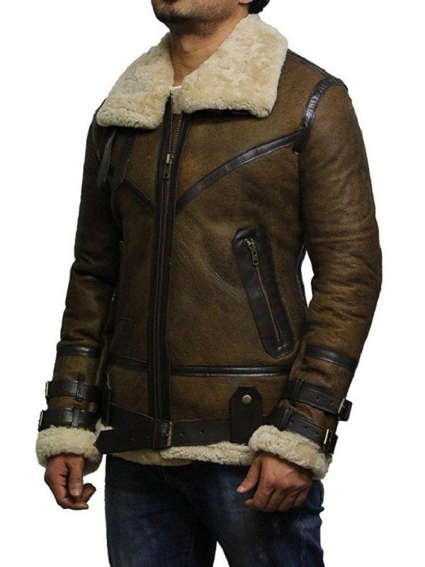 B3 Real Shearling Sheepskin Flying Bomber Jacket