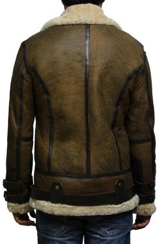 Men Aviator Shearling Bomber Flying Leather Jacket