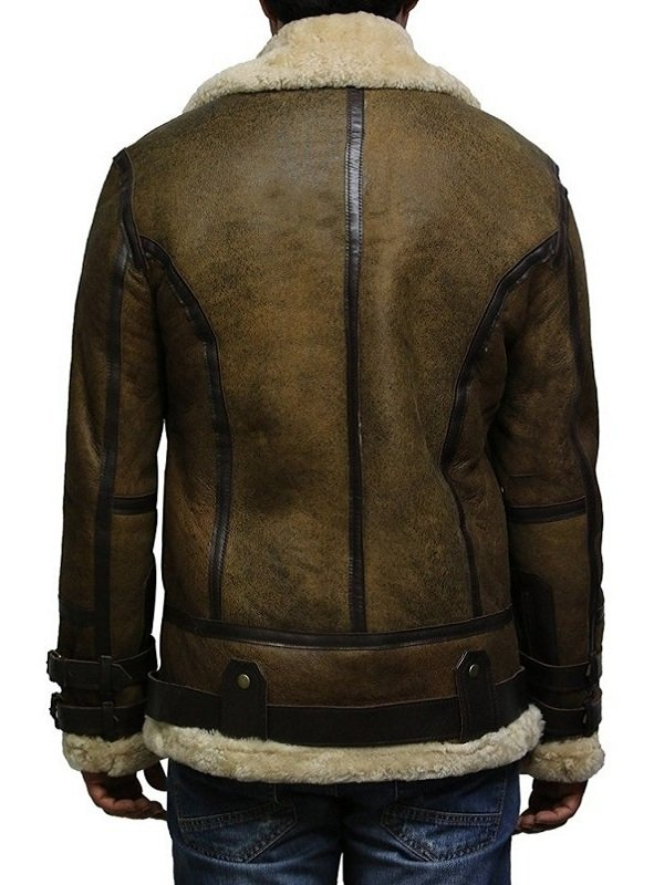 Men Aviator Shearling Bomber Flying Leather Jacket