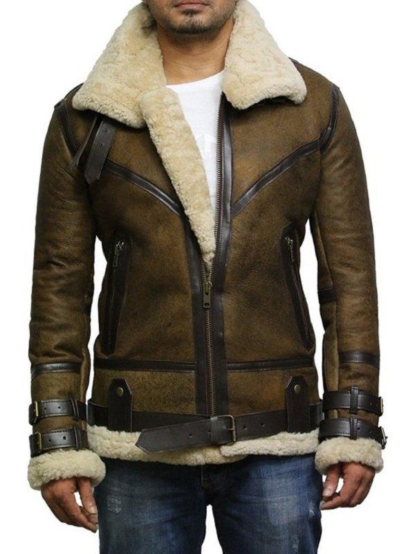 Men B3 Aviator Bomber Flying Leather Jacket