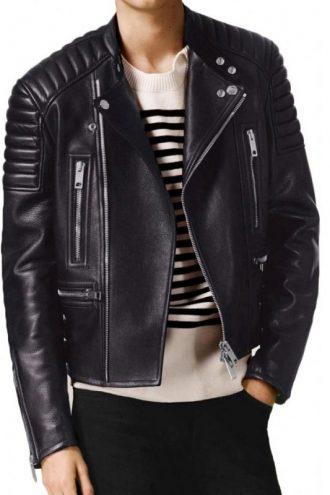 Men's Asymmetrical Leather Jacket