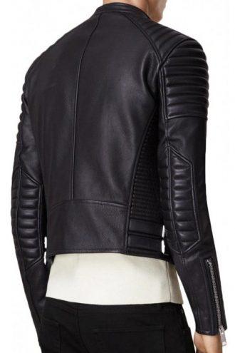 Men's Padded Design Biker Black Leather Jacket