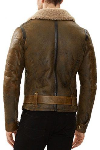 Men Shearling Aviator Waxed Leather Jacket