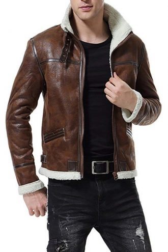 Mens Distressed Bomber Leather Fur Jacket