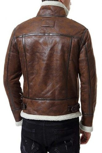 Mens Distressed Bomber Fur Brown Leather Jacket
